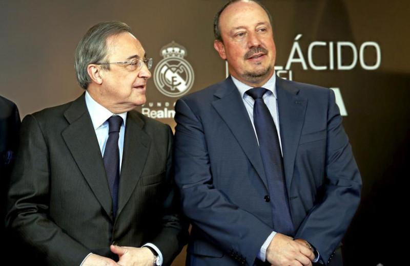 Florentino Pérez y Rafa Benítez, en un acto organizado por el Real Madrid, foto vía CHEMA REY MARCA