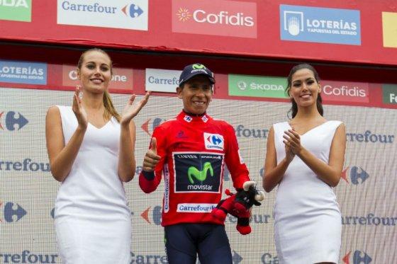 Nairo Quintana, lider del Movistar Team, foto vía AFP