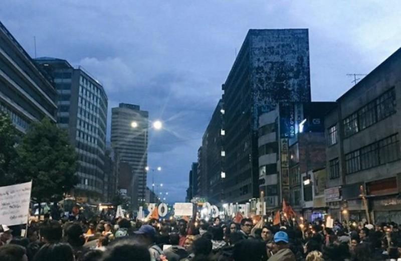 Bloqueos por multitudinaria manifestación en apoyo a la revocatoria del Alcalde de Bogotá