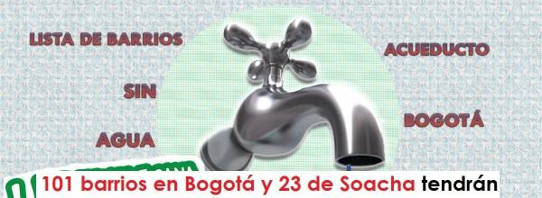 101 barrios en Bogotá y 23 de Soacha tendrán cortes de agua entre el 23 y 27 de abril