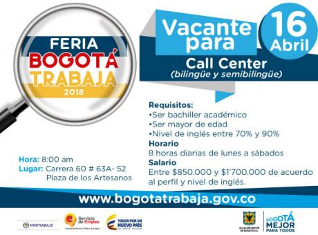 Feria de empleo con 1.500 vacantes para trabajar en Bogotá - Abril 2018 (1)