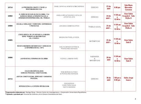 Programación Lanzamientos de Libros de la Corporación Universitaria Republicana en la Feria del Libro de Bogotá 2018 (1)