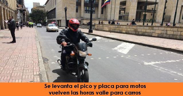 Se levanta el pico y placa para motos y vuelven las horas valle para carros, radio universitaria urepublicanaradio foto vía web Alcaldía de Bogotá