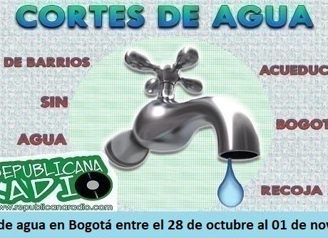 Lista de barrios que tendrán cortes de agua en Bogotá entre el 28 de octubre al 01 de noviembre-radio-universitaria-somos-URepublicanaRadio-Radio-Universitaria